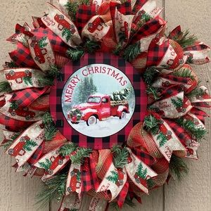 Handcrafted Christmas Red Truck Wreath